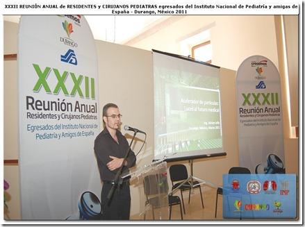 """Conférence """"Accélérateur de particules : lumière sur le futur médical"""" durant la XXXII réunion des chirurgiens pédiatres de l'institut Mexicain de Pédiatrie et leurs collègues d'Espagne."""