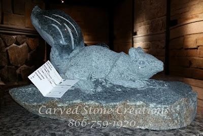 Carved Squirrel On Boulder, Natural Rock