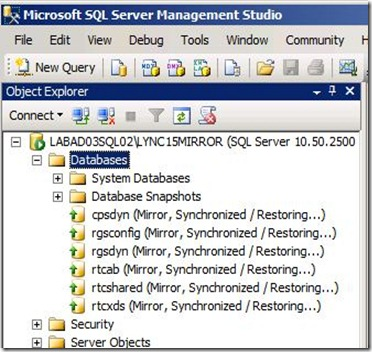 Lync 2013 - SQL Mir - mirror node check
