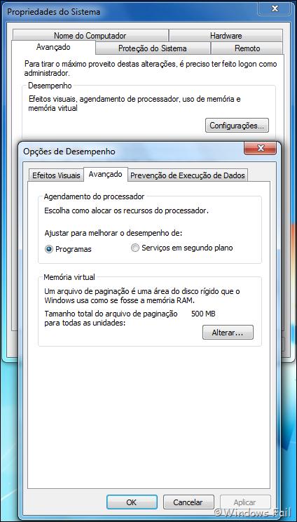Clique em Configurações, no menu Desempenho. Uma janela abrirá. Clique na guia Avançado e clique no botão Alterar, no menu Memória Virtual.