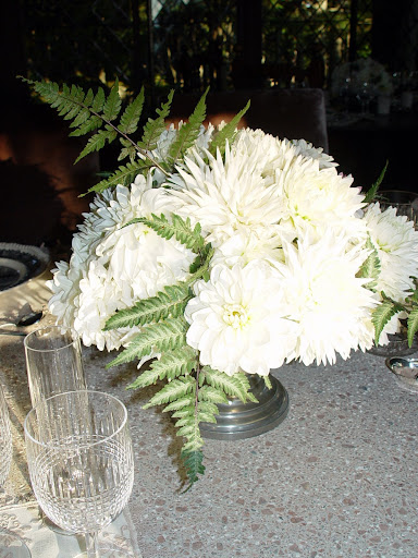One of the many types of dahlias I'm lucky enough to use, in a painted urn.
