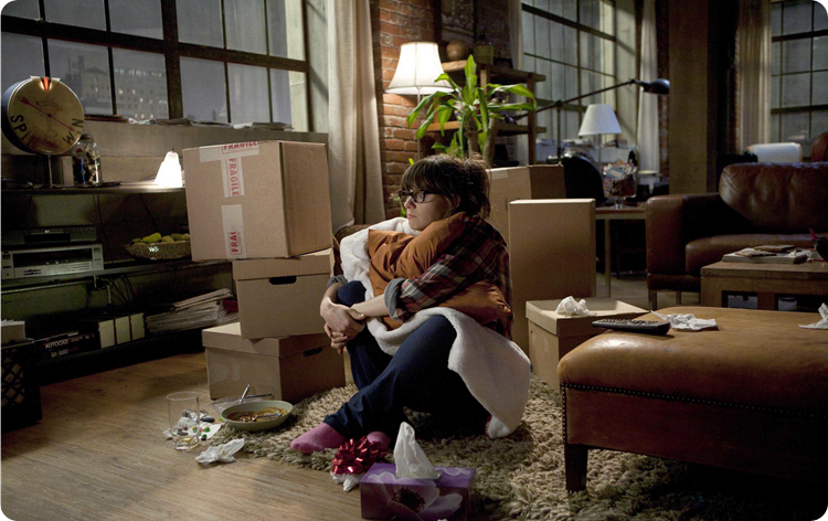 new girl- sad TV watching