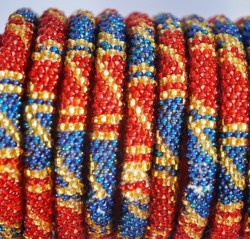 Rollover Red Blue Series Bead Bracelets