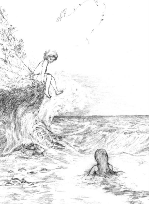Niño, sirena y cometa escala de grises 72ppp