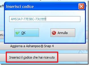 Ashampoo Snap 3 inerisci codice
