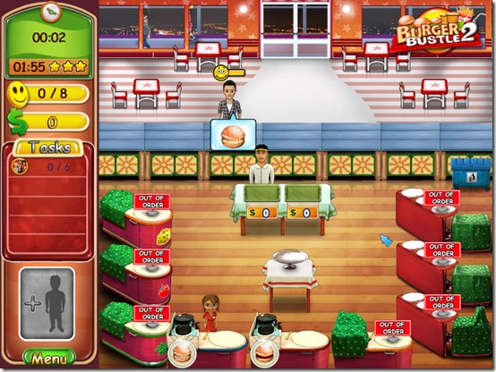 Help Ellie get ahead in the restaurant business in Burger Bustle: Ellie's Organics!