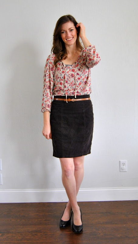 boho top + pencil skirt