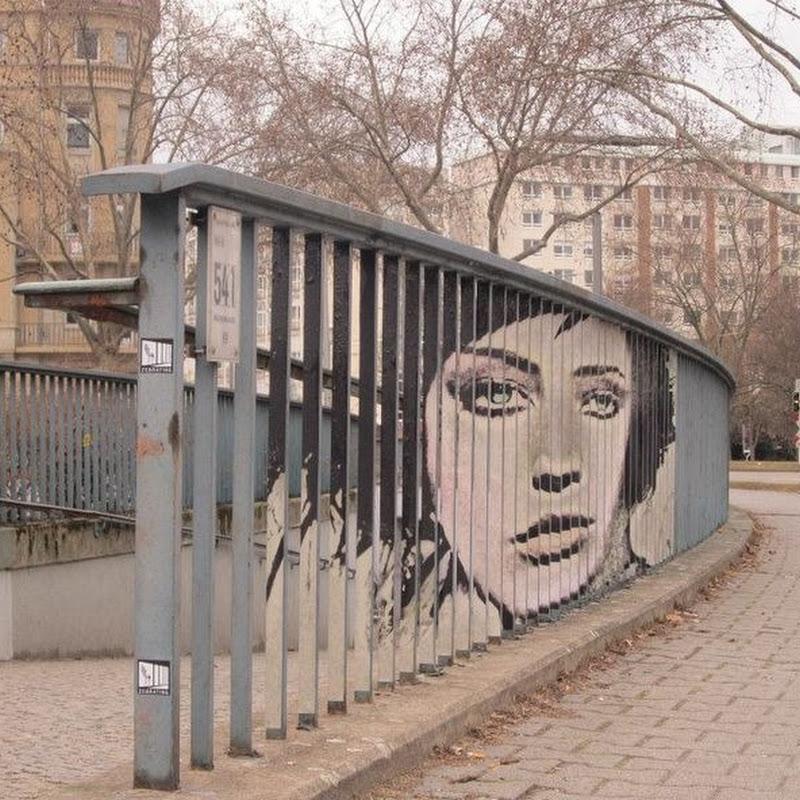Anamorphic Street Art on Railings by Zebrating