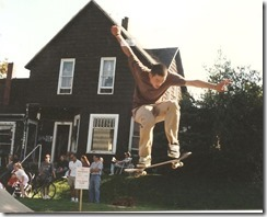 Skateboarding on friendly st.