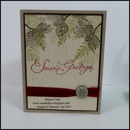 SharonField, Createdbyu, blogspot, Christmas Cards, CAS, CASE, Betsy Veldman, 5 minute card, online ordering, shop online, antique brads, Lovely as a Tree, Autumn Days, Many Merry Messages, Seam Binding, Cherry Cobbler, Stampin Up