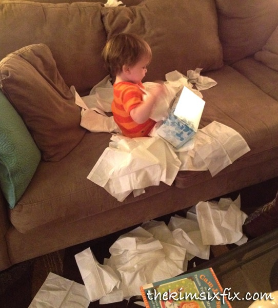 Baby emptying tissues