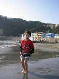 Kai enjoying the water at Zushi beach