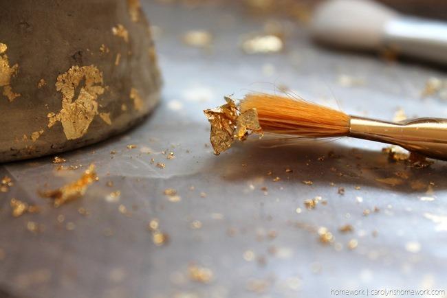 Gold Leaf Concrete Planter via homework | carolynshomework.com