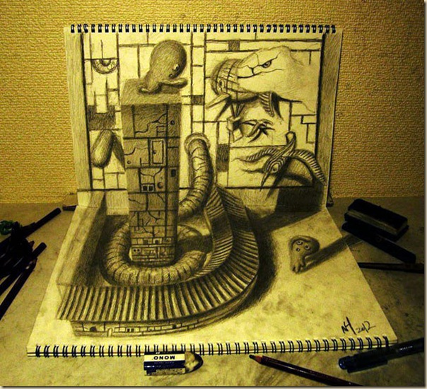 Incroyables dessins au crayon en 3D par Nagai Hideyuki-009