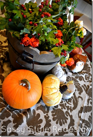 World market fall table with damask throw