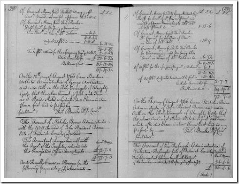 BOONE, Johann 5067 - 1766 Probate Administration Account