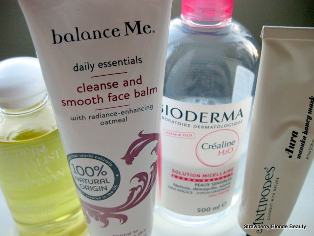Una-Brennan-VitaminC-Cleansing-Oil;BalanceMe-Cleansing-Balm;Antipodes-Aura-Manuka-Honey-Mask-Bioderma-H20-review