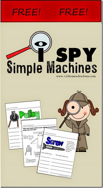 I Spy Simple Machines Kids Activities - A science scavenger hunt activity for K-5th grade; free printable flip book!