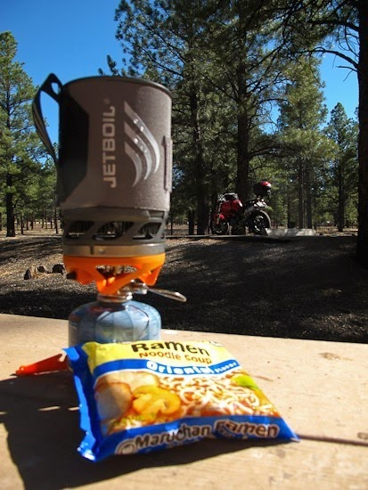 Jet Boil and Ducati at Bonito CG near Sunset Crater NM (1)