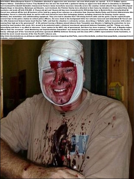 ZIM FARMER MAIDWELL TROY HIT WITH GUN BARREL FARM INVASIONS UNVUTCHA ZIMBABWE NOV42011
