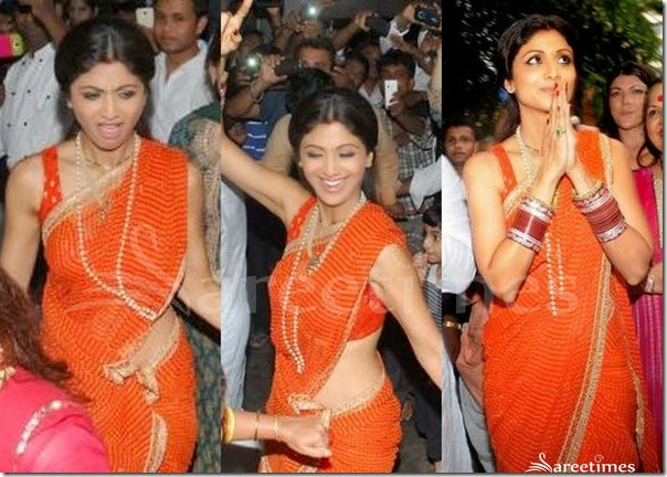 Shilpa_Shetty_Orange_Saree