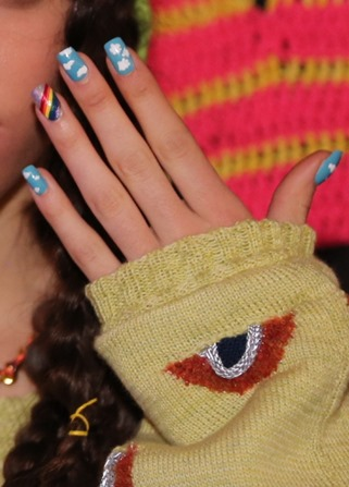 OPI Cloud and Rainbow design at the DEGEN Fall/Winter 2014 Presentation #NYFW #OPINYFW