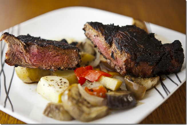 Bourbon Glazed New York Strip Steak with Grilled Vegetables