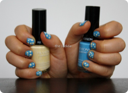 Polka Dot Nails -Revlon Colorstay Nail Polish - Coastal Surf and Buttercup (1)