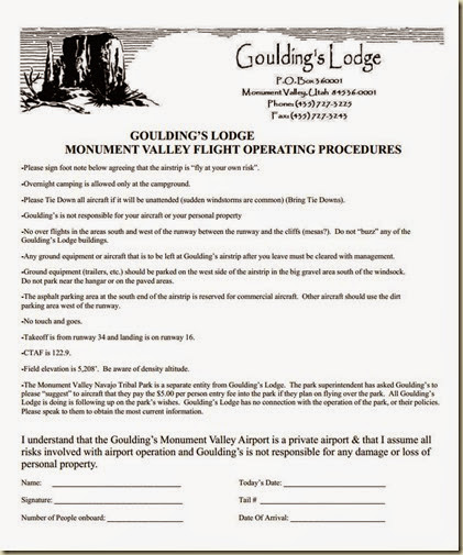 Goulding's Lodge Monument Valley Flight Operating Procedures