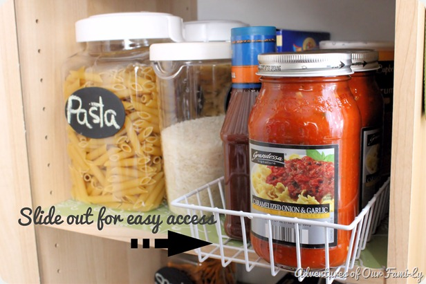kitchen organizatio pasta shelf close up