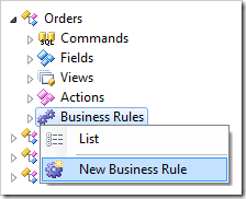New Business Rule context menu option for Orders controller.