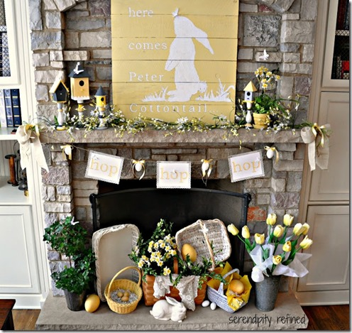 Spring Peter Cotton Tail bunny pallet reclaimed wood bird house mantel decor yellow flowers baskets butterflies 18