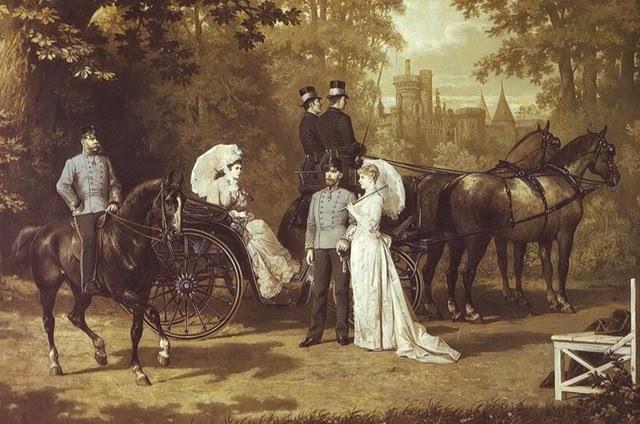 Rudolf y Stephanie compartiendo un paseo por los famosos bosques de Viena junto a los emperadores, Franz Joseph y Elisabeth.