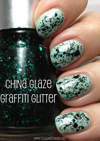 China Glaze Graffiti Glitter (over Keep Calm, Paint On)