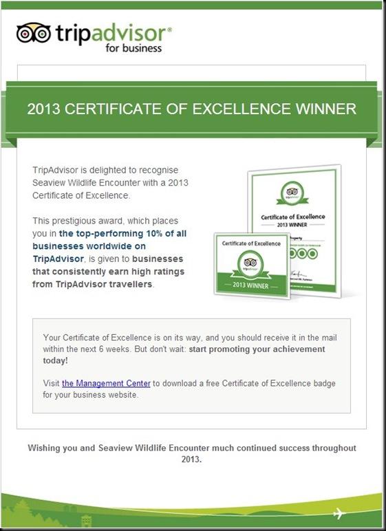 Trip advisor certificate 2013