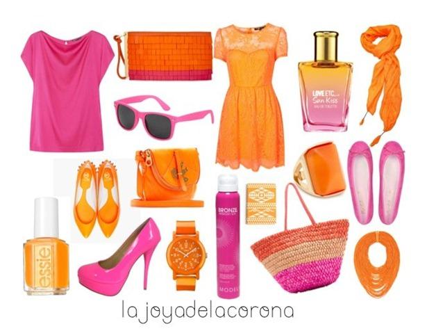 rosa y naranja