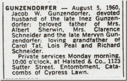 Jacob Gunzendorfer SF Examiner 7 Aug 1960 Sec III Page 12