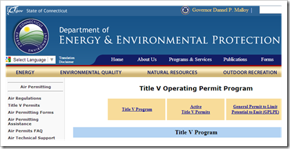 Connecticut Department of Energy and Environmental Protection Title V Operating Permit Program