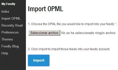 Importar marcadores de Google Reader - Opción Import OPML Feedly