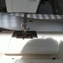sewing with the sun on my back @ sewing guild meet