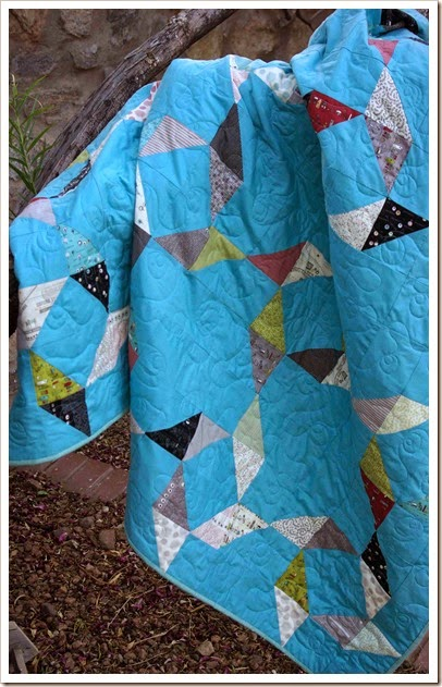 Vintage looking blue quilt