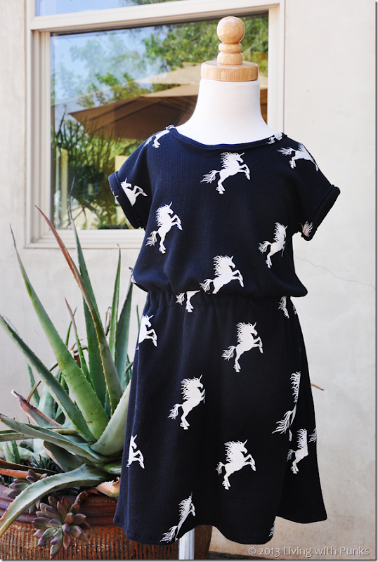 Unicorn dress with link to free 5T pattern