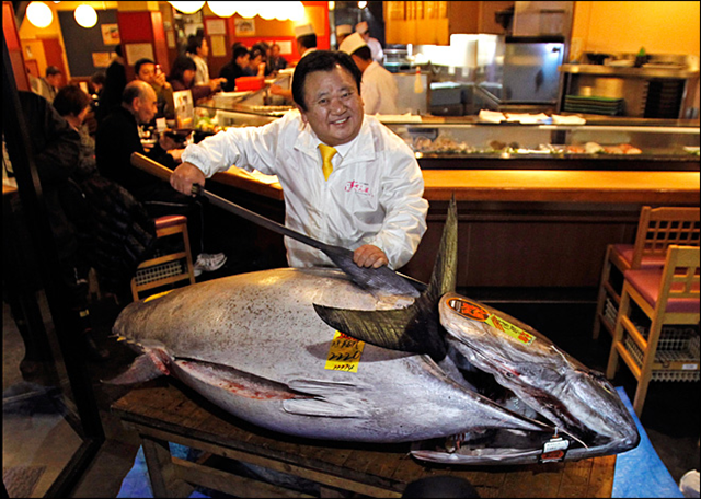 Kiyoshi Kimura, president of Kiyomura Co., poses with a bluefin tuna in front of his Sushi Zanmai restaurant near Tsukiji fish market in Tokyo Saturday, 5 January 2013. The tuna sold for a record $1.76 million at a Tokyo auction Saturday, nearly three times the previous high set in 2012. Photo: Shuji Kajiyama / AP