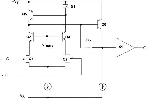 AD845 BiFET 16MHz op amp simplified circuit