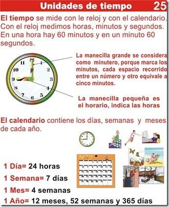 Ejercicios de unidades de tiempo y aprender a leer el reloj para primaria
