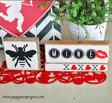 DIY Valentine Craft Projects for Super Saturdays - BEE MINE blocks