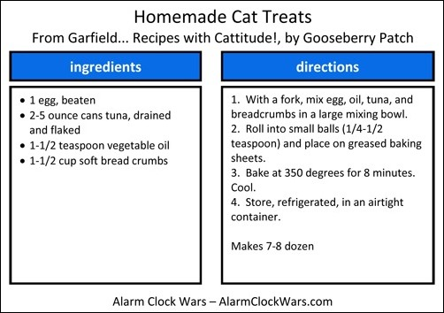 homemade cat treats recipe card