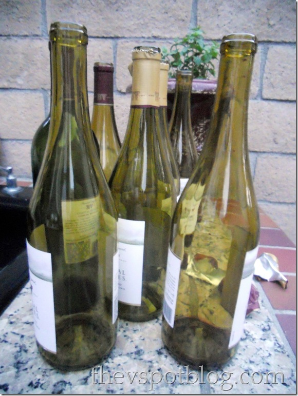 empty wine bottles, bunco party