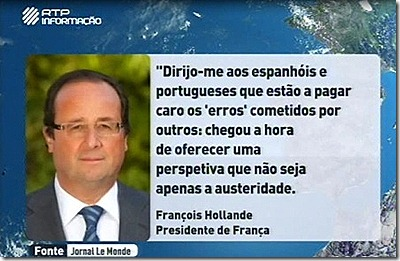 Hollande dirige-se aos portugueses. Out.2012