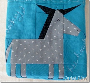 Donkey Hee Haw Paper Pieced Front of Fabric basket
